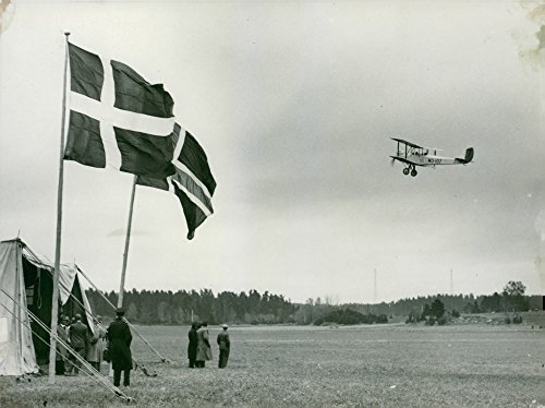 Vintage photo of Finnish aircraft on Swedish air race - Year (Finnish Air)