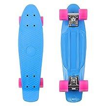 """PHAT ® 22"""" Complete Plastic Retro Mini Skateboard Cruiser Street Surfing Skate Banana Board (Blue)"""