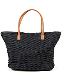Navy staw tote bag - H & M