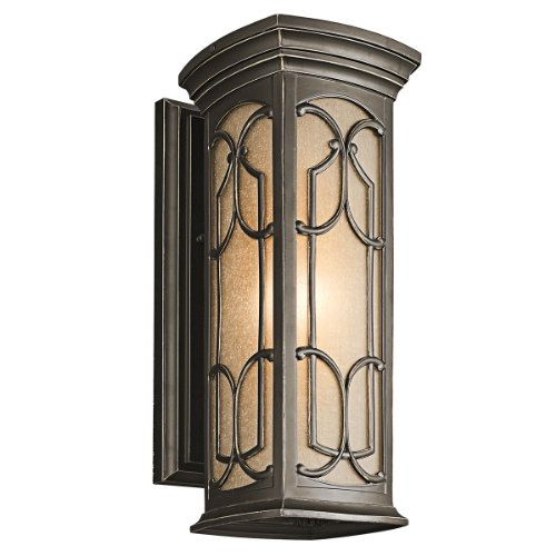 Kichler Lighting 49227OZ Franceasi 18-Inch Light Outdoor Wall Lantern, Olde Bronze with Light Umber Seedy Glass