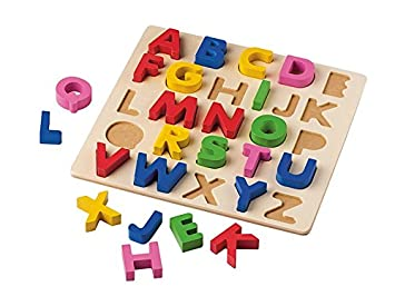 Wooden Alphabet Jigsaw Toddler Letter Puzzle Numbers Kids Educational Toys LS