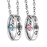 MJartoria Rhinestone Her Weirdo His Crazy Heart Engraved Ring Pendant Couple Necklace Set
