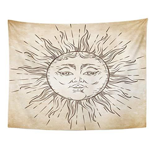 b7ae8e2eb Tarolo Decor Wall Tapestry Drawn Antique Sun Boho Chic Tattoo Engraving Hand  Aged Alchemy Astrology 60