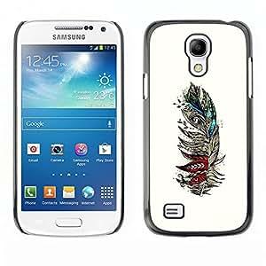 """For Samsung Galaxy S4 Mini (NOT for regular S4) Case , Pluma blanca Aves artístico Rojo trullo"""" - Diseño Patrón Teléfono Caso Cubierta Case Bumper Duro Protección Case Cover Funda"""