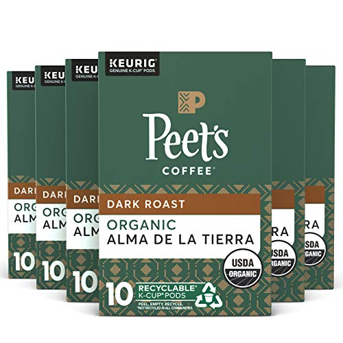 Peet's Coffee, Organic Alma de la Tierra- Dark Roast Coffee – 60 K-Cup Pods for Keurig Brewers, USDA Organic (6 Boxes of…