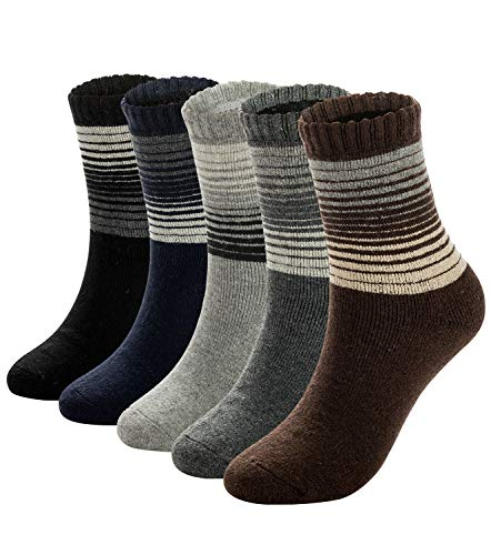 (Mens Warm Wool Socks Thick Winter Thermal Stripe Wool Crew Socks 6 or 5 Pairs (mix_multi stripes,5 pairs))