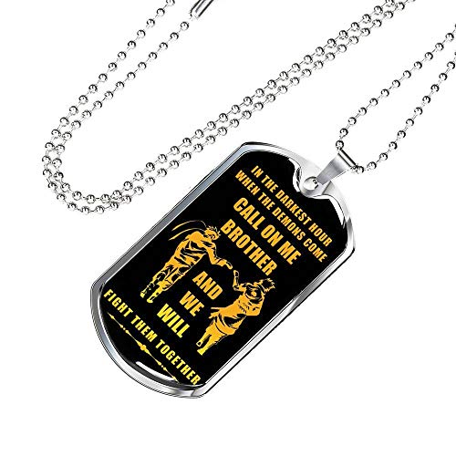 (New Version My Brother Dog Tag Chain Necklace Pendant Naruto Fan Anime Movie - Happy Birthday Gifts for Friends Or Brother When The Demon Comes, Call On Me Brother)