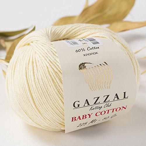 5 Skein (Pack) Total 8.8 Oz. Gazzal Baby Cotton Each 1.76 Oz (50g)/150 Yrds (165m) Soft, Fine Baby Yarn, 60% Cotton, Beige - 3437