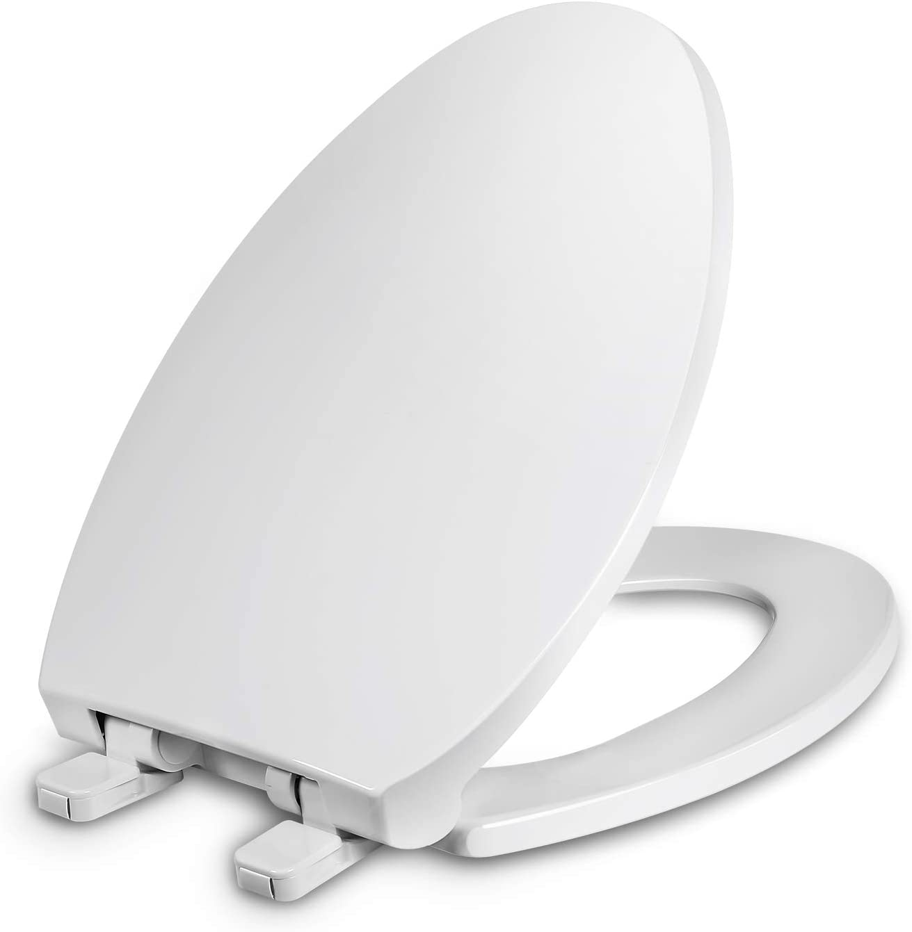 Elongated Toilet Seat with Cover, Slow Close, Easy to Install
