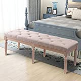 Harper&Bright Designs Modern Linen Fabric Tufted Ottoman Bench Bed Bench with Wood Legs (Beige)