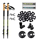 Hetto 1 Pair Carbon Fiber Hiking Poles Collapsible Hiking Stick Adjustable Trekking Poles Lightweight with Cork Handle 4 Different Accessories Walking Stick Walking Poles for Men and for Women Yellow
