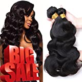 "Jaycee Hair Brazilian Virgin Hair Body Wave 3 Bundles 8A 100% Unprocessed Remy Human Hair Weave Hair Extensions Natural Black Color(100+/-5g)/pc(8""+8""+10"")"