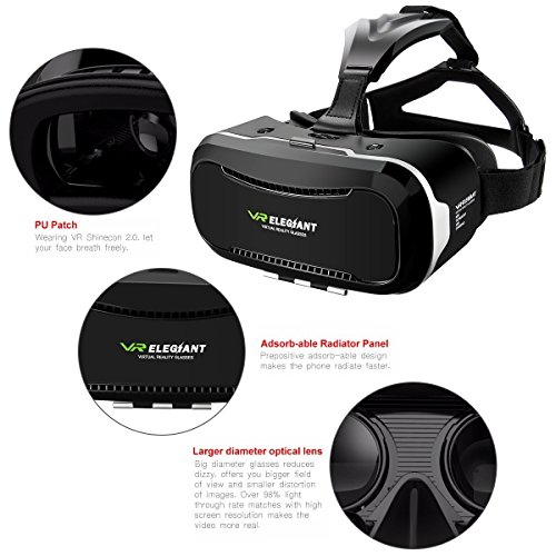 VR Headset,ELEGIANT 3D VR Glasses Virtual Reality Box for 3D Movies Video Games, for iPhone 7 Plus 6 Plus 6s Samsung S7 S6 Edge S5 Note 5 Other 4.0-6.0 Inches Smartphones Photo #3