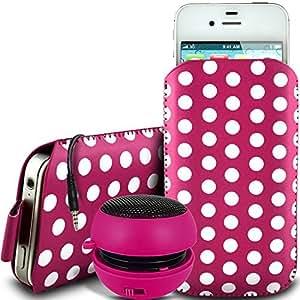 Direct-2-Your-Door - Nokia Lumia 525 de protección pu Polka de cuero con cremallera diseño antideslizante de cordón en la bolsa del caso con cierre rápido y 3.5mm recargable Mini Altavoz - rosa