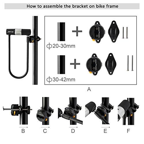 Via Velo Bike U Lock with Strong Cable Heavy Duty Bicycle U Lock Shackle 15mm with 3 Keys and Weatherproof Shock Lock Set, Bike Tire Lock for Road Bike Mountain Bike Electric Bike Folding Bike by Via Velo (Image #5)
