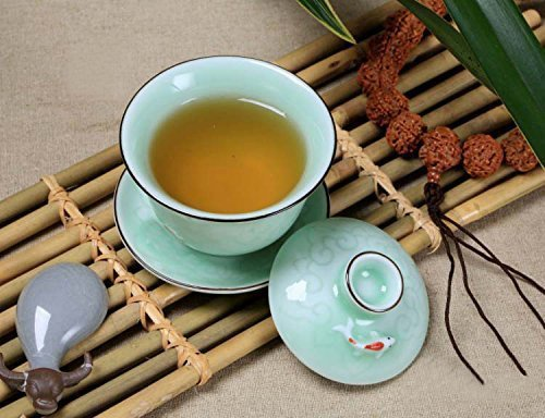 Home tea Celadon carp teacup/coffee cup/gaiwan(with lid and saucer) 120ml