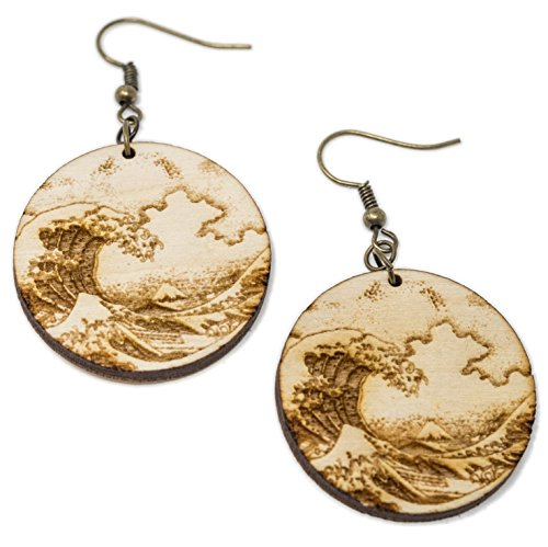 (Great Wave Dangle Earrings | Hand Made Hokusai Great Wave Off Kanagawa Wood Block Print Drop Earring Jewelry)