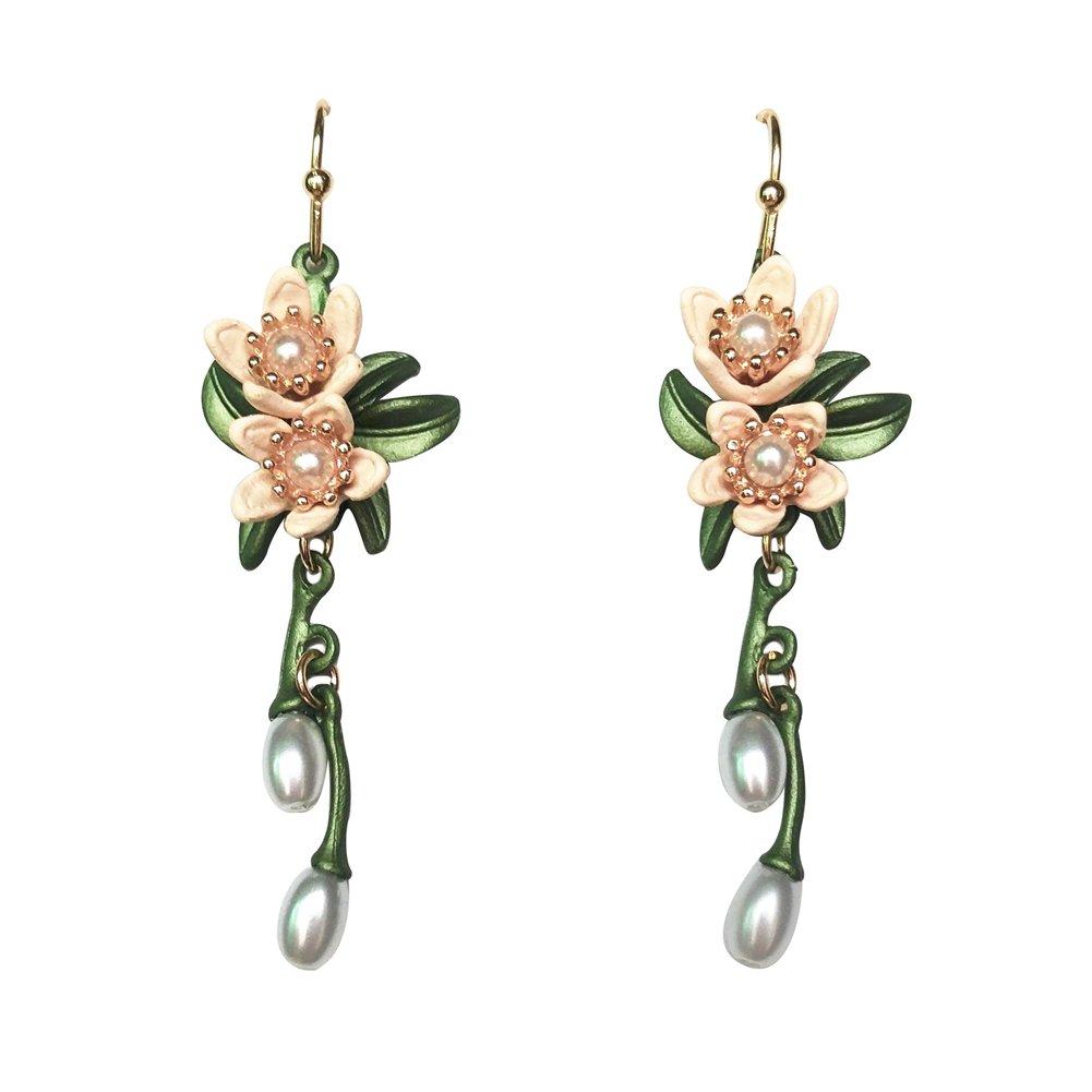 Lotus Flower Eardrop Earrings For Women Vintage Pearls Leaf Dangle