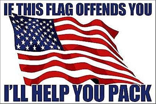 Bumper Sticker Helmet - MFX Design If This Flag Offends You I'll Help Bumper Sticker Decal Helmet Sticker Decal Laptop Sticker Decal Vinyl - Made in USA 3.5 in. x 2.5 in.