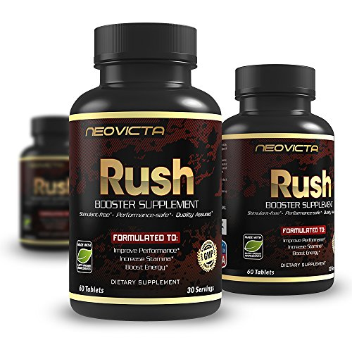 #1 Booster Supplement  Enhance Stamina, Strength, Energy & Muscle Mass - RUSH by Neovicta - Powerful All Natural Support - 60 Count - Money Back Guarantee