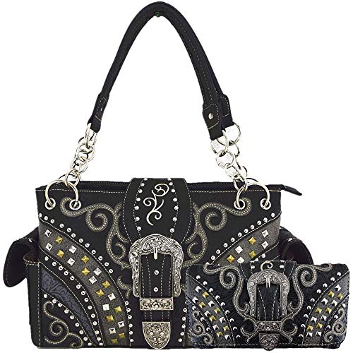 Western Style Tooled Leather Buckle Concealed Carry Purse Country Handbag Women Shoulder Bag Wallet Set (#3 Black Set)
