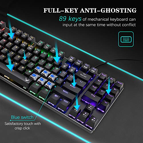 Mechanical Gaming Keyboard and Mouse Combo, TopMate 89 Keys  Rainbow Backlit Keyboard Blue Switches with 6400DPI Gaming Mice for Windows PC and Laptop Gamers, Office