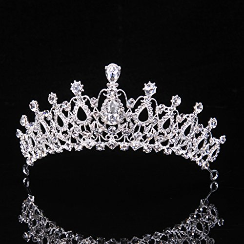 Topwedding Wedding Birdal Pageant Princess Tiara Headband Crown Headpiece w Rhinestones, Women -