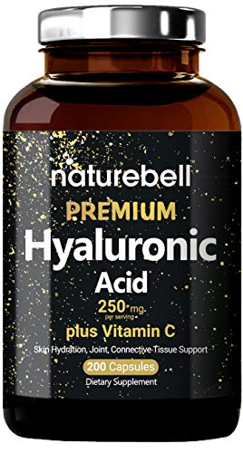 Maximum Strength Hyaluronic Acid Supplements, 250mg per Serving + Vitamin C, 200 Capsules, Supports Skin Hydration, Joints Lubrication and Antioxidant, Non-GMO and Made in USA (Best Hyaluronic Acid Reviews)