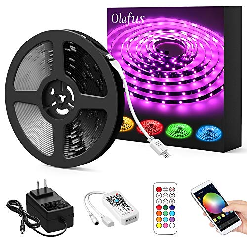 Olafus Ambient RGB LED Strip Light 32.8ft Kit, Smart WiFi Wireless App Control Light Tape, Dimmable 300 LEDs 5050, Works with Alexa, Google Assistant, Remote Control 16 Millions Color Changing Light]()