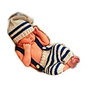 SIKEMAY Fashion Newborn Boy Girl Costume Knitted Outfits Baby Photography Props Stripe Hat Strap Pants Set
