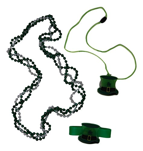 Saint Patrick's Day Accessory Jewelry Set - Light Up Top Hat Necklace and Bracelet Bundle, Beaded Necklace