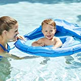 SwimSchool Blue Fun Fish Fabric Baby Boat, Splash and Play, Safety Seat, Extra-Wide Inflatable Pool Float, Retractable Canopy, UPF 50, 6 to 24 Months, Blue