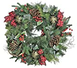 BUYER'S CHOICE! Christmas Evergreen Pine GARLAND, TEARDROP, WREATH with Large Jingle Bells, Buffalo Plaid Bows, Deer Horn, Pinecone (24'' Wreath)