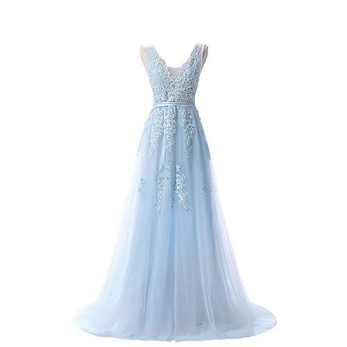 Nicefashion V Neck Elegant Long Lace Evening Dress Semi Formal Prom Gowns