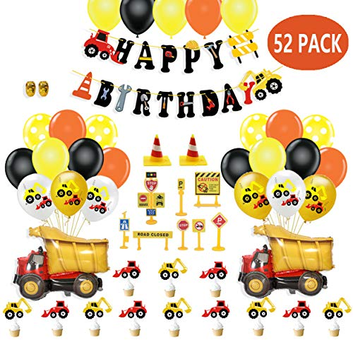 Construction Birthday Party Supplies Dump Truck Party Decorations Kits Cars Set for Kids Birthday Party, Birthday Banner Car Dump Truck Balloon Cake Topper Road Sign Models Construction Toys for Car Truck Party Favors 55 pack ()
