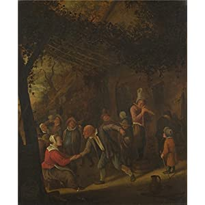 'Jan Steen Peasants Merry Making Outside An Inn ' Oil Painting, 18 X 22 Inch / 46 X 55 Cm ,printed On Polyster Canvas ,this Imitations Art DecorativePrints On Canvas Is Perfectly Suitalbe For Game Room Artwork And Home Decor And Gifts