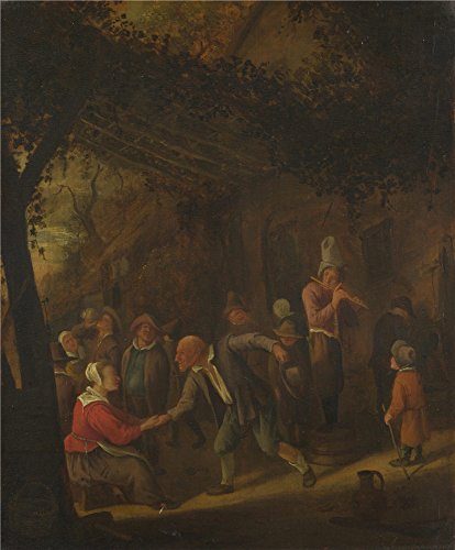 (The polyster Canvas of oil painting 'Jan Steen Peasants merry making outside an Inn ' ,size: 12 x 15 inch / 30 x 37 cm ,this Art Decorative Canvas Prints is fit for Study decoration and Home decor and Gifts)