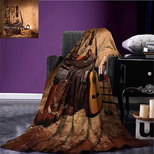 RenteriaDecor Western Throw Blanket American Texas Style Country Music Guitar Cowboy Boots USA Folk Culture Print Oversized Travel Throw Cover Blanket Cream and Brown Bed or Couch 90