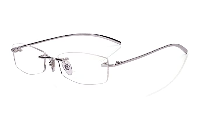 8c5ae46f18 Agstum Pure Titanium Rimless Glasses Prescription Eyeglasses Rx (Silver