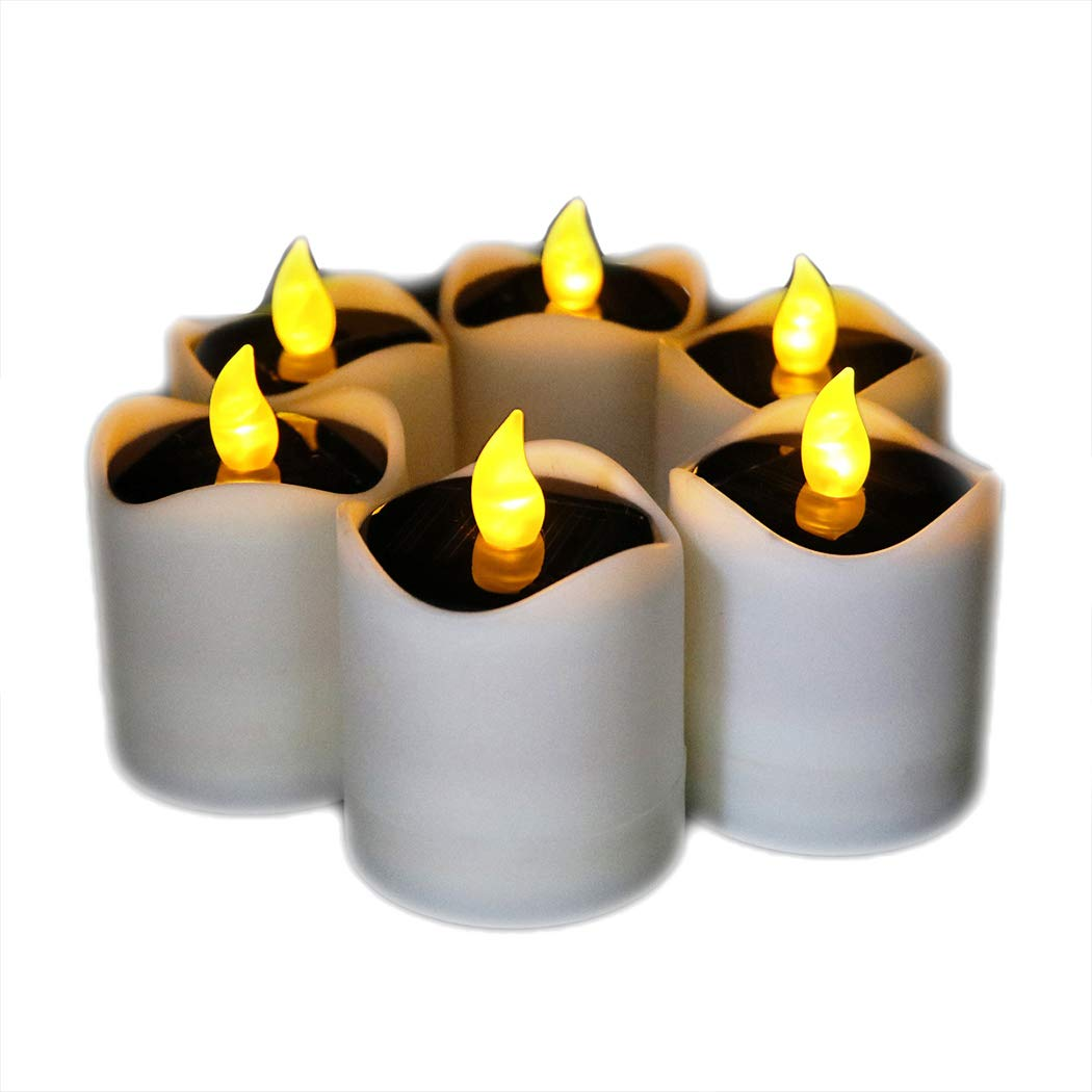6 Pcs Solar LED Candles Waterproof Romantic Electronic Tealight Solar Candles Fake Candles Solar Emergency Night Light for Camping Traveling Outdoor Home Party Decoration (Amber-yellow Flickering) by Little bees (Image #1)