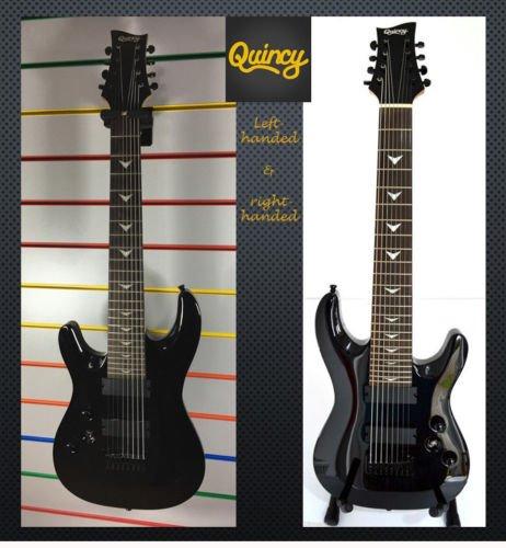 Seattle por QUINCY 8 de las cuerdas de la guitarra eléctrica de color negro (cuerpo