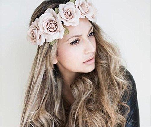 Floral Fall Elastic Coffee Big Rose Flower Headband Hair Wreath Halo Crown F-37