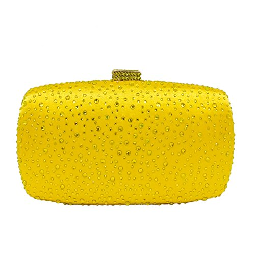 Señoras Las De Mujeres De Embrague Bolso Tarde Las De Flada Cristal Amarillo amarillo De Diamante De Del Brillante Boda Del Bolsos La PaF7Oqa