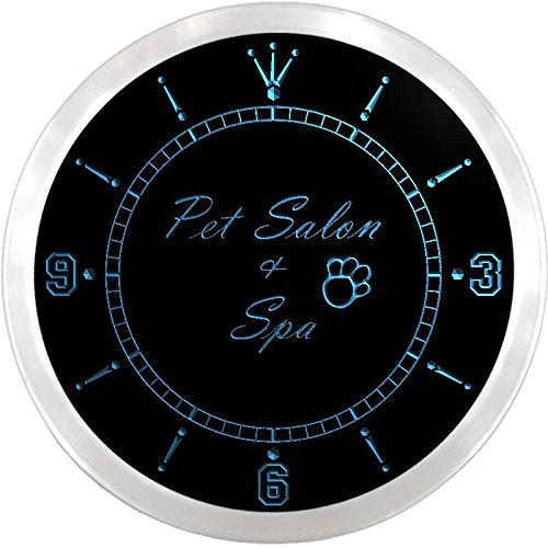- ADVPRO nc0613-b Pet Salon & Spa Dog Grooming Neon Sign LED Wall Clock