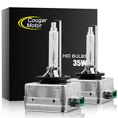 Cougar Motor D3S HID Bulbs, Upgraded Xenon Headlight Replacement Bulb 35W 8000K (Pack of 2 bulbs)