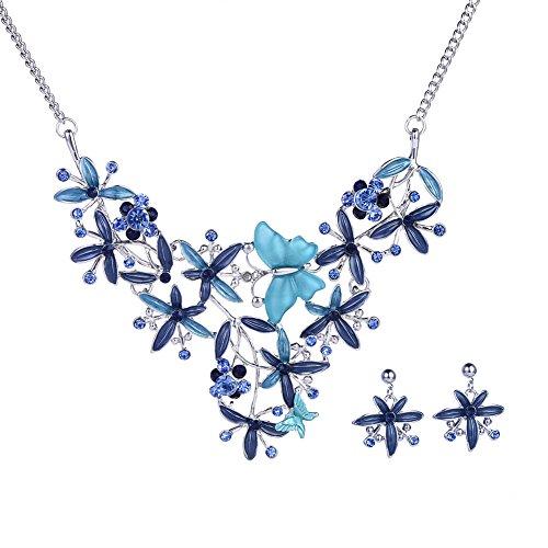 Enamel Blue Jewelry (Bohemian Rhinestone Blue Enamel Flowers Statement Necklace Dangle Earrings Silver Jewelry Set for Women)