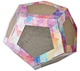 Pet Life 'Octagon Puzzle' Designer Premium Quality Kitty Cat Scratcher Lounge Toy & House with Catnip, One Size, Rainbow Tye Die
