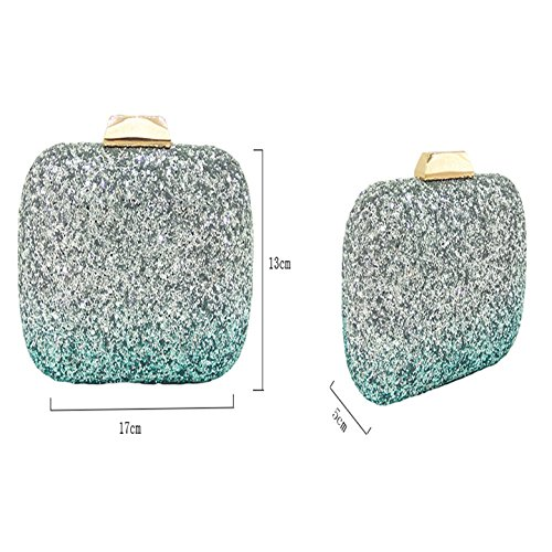 Color Clutch Party Dress Fashion Dinner Handbag Sequin Bag Evening Ladies Gradient Silver Crossbody Bag Bag Bag Banquet Chain ncX4q4WHp