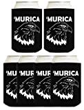 Funny Can Coolie Murica Bald Eagle 6 Pack Can Coolies Black