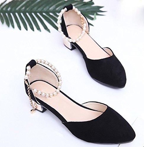 La Sandalias Baotou Los Verano De Zapatos Mujer Black Señaló Palabra Hebilla Planos 5BHza